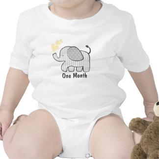 Mois d'éléphant de guingan premier body pour bébé