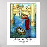 Moïse dans une copie de panier - customisée affiche