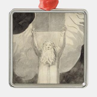 Moïse recevant la loi, c.1780 (brosse et noir i ornement carré argenté