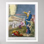 Moïse séparant la Mer Rouge, d'une bible imprimée  Posters