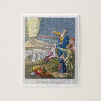 Moïse séparant la Mer Rouge, d'une bible imprimée  Puzzle