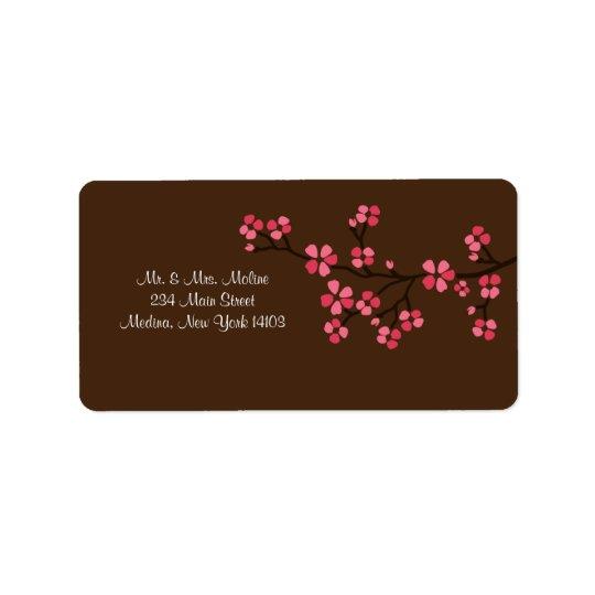 Moka de fleurs de cerisier épousant l'étiquette de étiquettes d'adresse