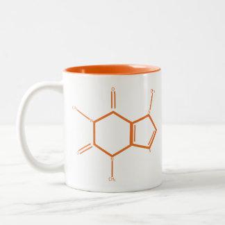 Molécule de caféine - orange tasse 2 couleurs