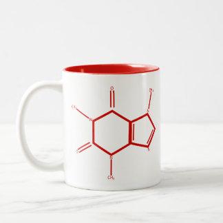 Molécule de caféine - rouge tasse 2 couleurs