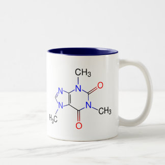 Molécule de caféine tasse 2 couleurs