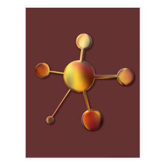 Molécule rouge lisse en métal cartes postales