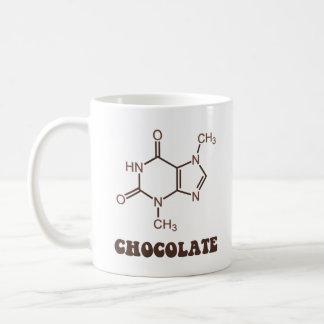 Molécule scientifique de théobromine d'élément de mug blanc