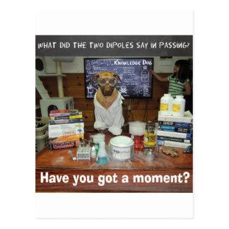 Moment dipolaire de chien de la connaissance carte postale