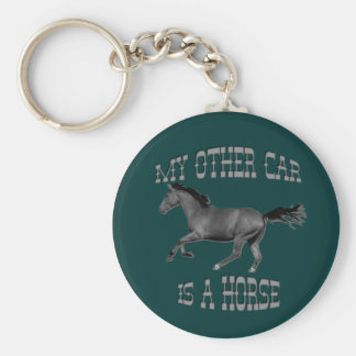 Mon autre voiture est un cheval porte-clé rond