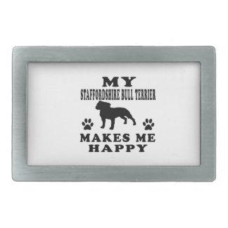 Mon bull-terrier du Staffordshire me rend heureux Boucles De Ceinture Rectangulaires