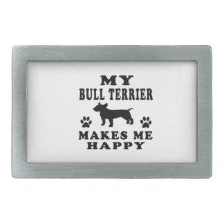 Mon bull-terrier me rend heureux boucle de ceinture rectangulaire
