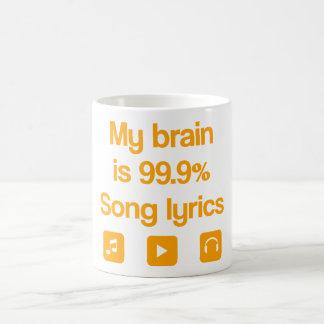 Mon cerveau est 99,9% textes de chanson mug