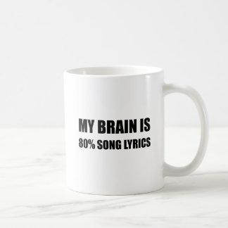 Mon cerveau est des textes de chanson de 80 pour mug