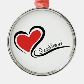 Mon chéri Valentine Ornement Rond Argenté