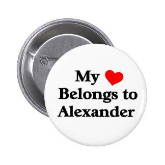 Mon coeur appartient à Alexandre Badge Rond 5 Cm
