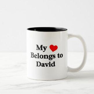 Mon coeur appartient à David Mug Bicolore