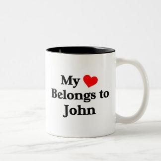 Mon coeur appartient à John Mug Bicolore