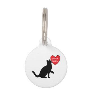 Mon coeur appartient à mon étiquette de nom de médaillon pour animaux