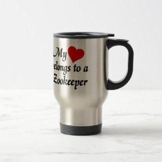 Mon coeur appartient à un gardien du zoo mug de voyage en acier inoxydable