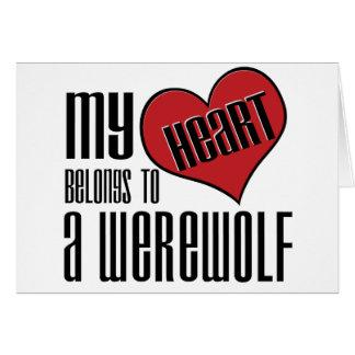Mon coeur appartient à un loup-garou carte de vœux