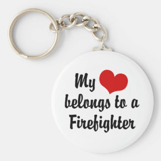 Mon coeur appartient à un sapeur-pompier porte-clé rond