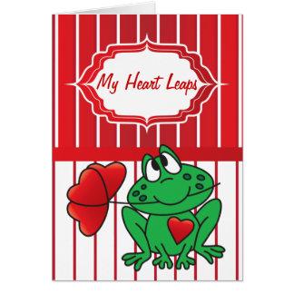 Mon coeur saute pour vous - la grenouille de carte de vœux