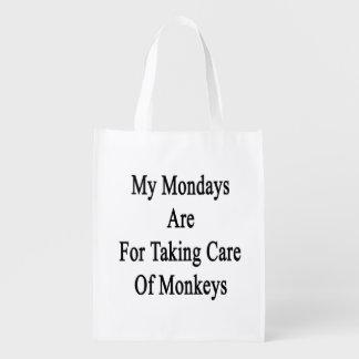 Mon lundi est pour prendre soin des singes sac réutilisable d'épcierie