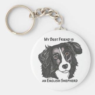 Mon meilleur ami est un berger anglais noir et porte-clé rond
