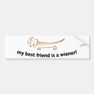 Mon meilleur ami est une saucisse….(Teckel) Autocollant Pour Voiture