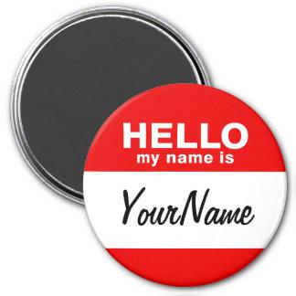 Mon nom est rouge fait sur commande vide de magnet rond 7,50 cm