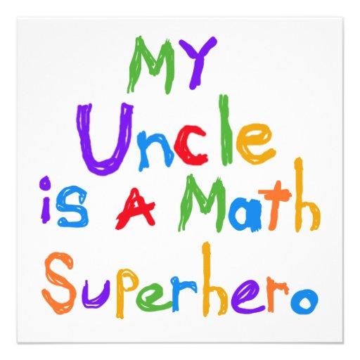 Mon oncle Math Superhero T-shirts et cadeaux Cartons D'invitation