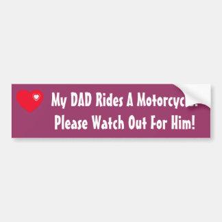 Mon papa monte une moto ! autocollants pour voiture