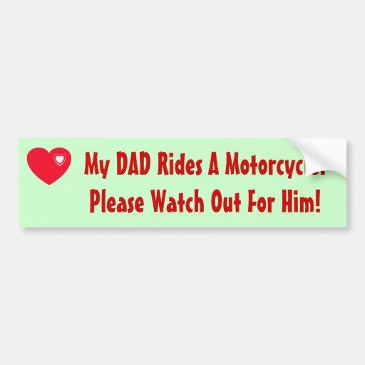 Mon papa monte une moto ! autocollant pour voiture