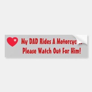Mon papa monte une moto ! observez pour lui, coeur autocollant de voiture