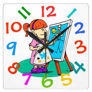 Mon petit artiste badine l'horloge murale de pièce horloge carrée