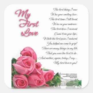 Mon premier art de poésie d'amour par Stanley Sticker Carré