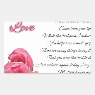 Mon premier art de poésie d'amour par Stanley Sticker Rectangulaire