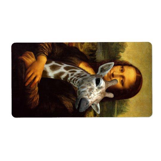 Mona Lisa aime des girafes Étiquette D'expédition