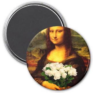 Mona Lisa avec le bouquet des roses blancs Magnet Rond 7,50 Cm