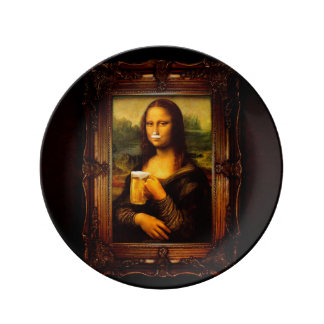 Mona Lisa - bière de Mona Lisa - Lisa-bière drôle Assiette En Porcelaine
