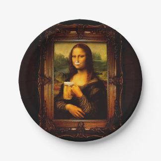 Mona Lisa - bière de Mona Lisa - Lisa-bière drôle Assiettes En Papier