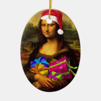 Mona Lisa dans l'humeur de Noël Ornement Ovale En Céramique
