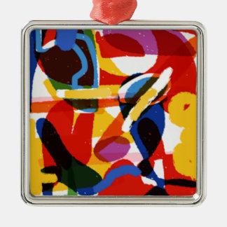 Monde abstrait de mod ornement carré argenté