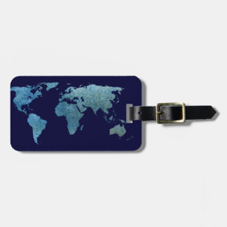 Monde bleu frais étiquettes bagages