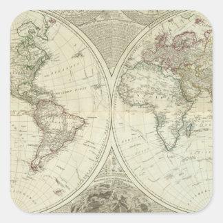 Monde composé ou globe terraqueous sticker carré
