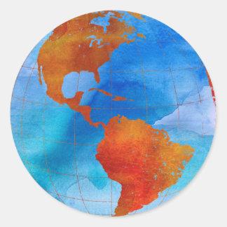 Monde d'aquarelle sticker rond