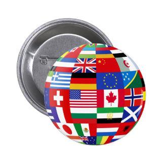 Monde de bouton de drapeaux badge