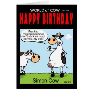 Monde de carte d'anniversaire de vache