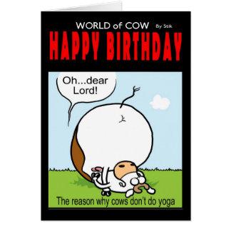 Monde de carte d'anniversaire de vache - oh… cher