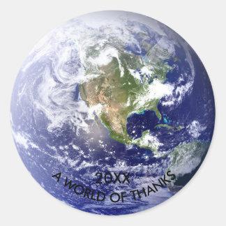 Monde de globe des mercis - autocollant de cercle